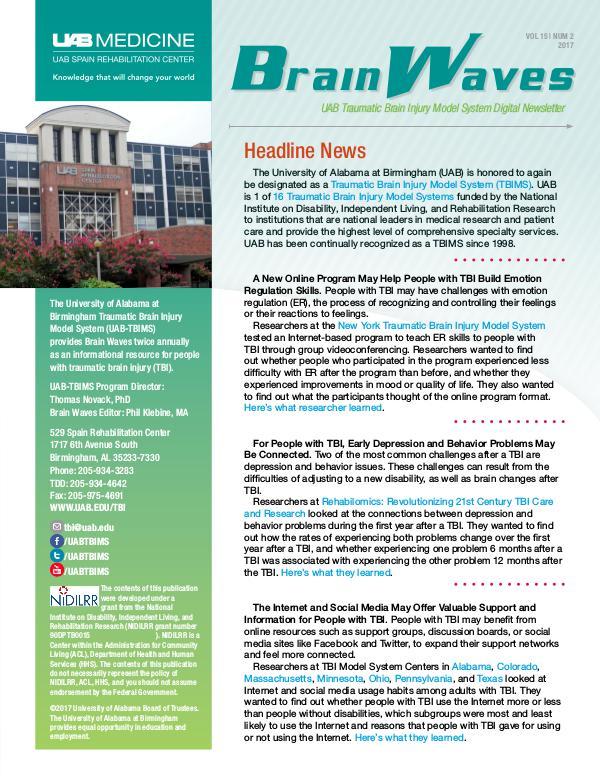 Brain Waves: UAB Traumatic Brain Injury Model System Newsletter Volume 15   Number 2