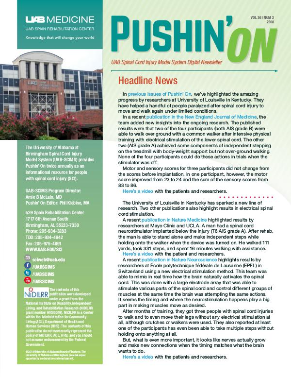 Pushin' On: UAB Spinal Cord Injury Model System Digital Newsletter Volume 36 | Number 2