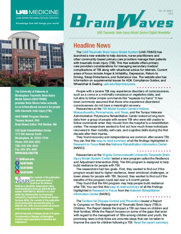 Brain Waves: UAB Traumatic Brain Injury Model System Newsletter Volume 16 | Number 2