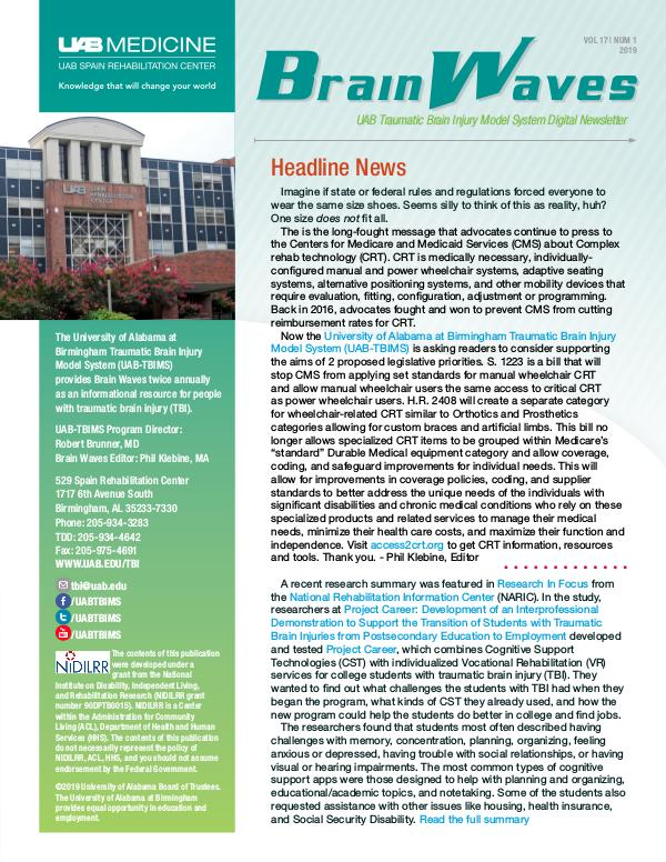 Brain Waves: UAB Traumatic Brain Injury Model System Newsletter Volume 17 | Number 1