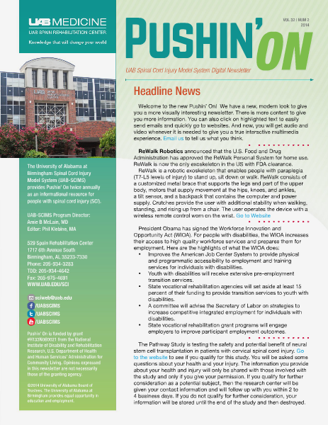 Pushin' On: UAB Spinal Cord Injury Model System Digital Newsletter Volume 32 | Number 2