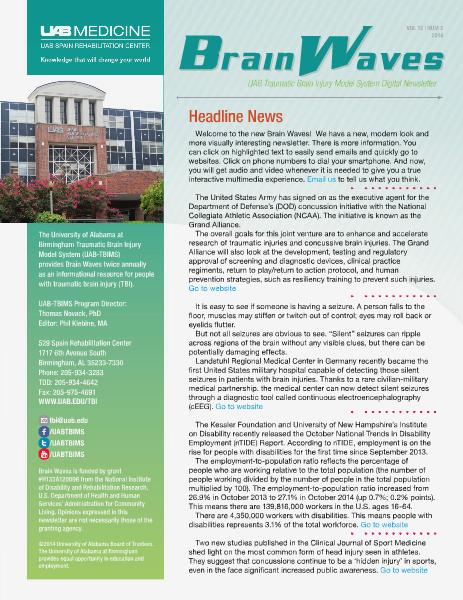 Brain Waves: UAB Traumatic Brain Injury Model System Newsletter Volume 12 | Number 2