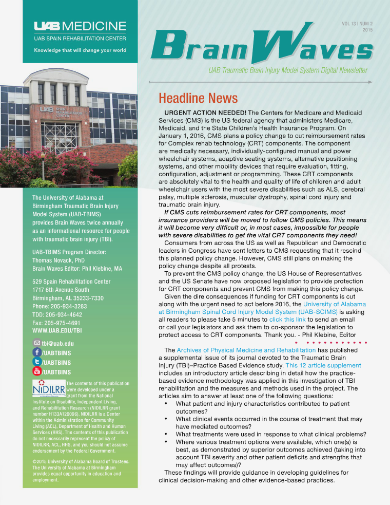 Brain Waves: UAB Traumatic Brain Injury Model System Newsletter Volume 13 | Number 2