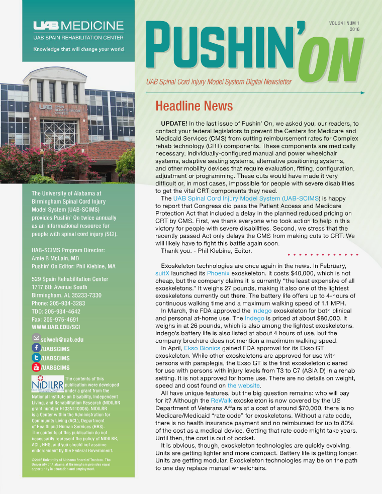 Pushin' On: UAB Spinal Cord Injury Model System Digital Newsletter Volume 34 | Number 1