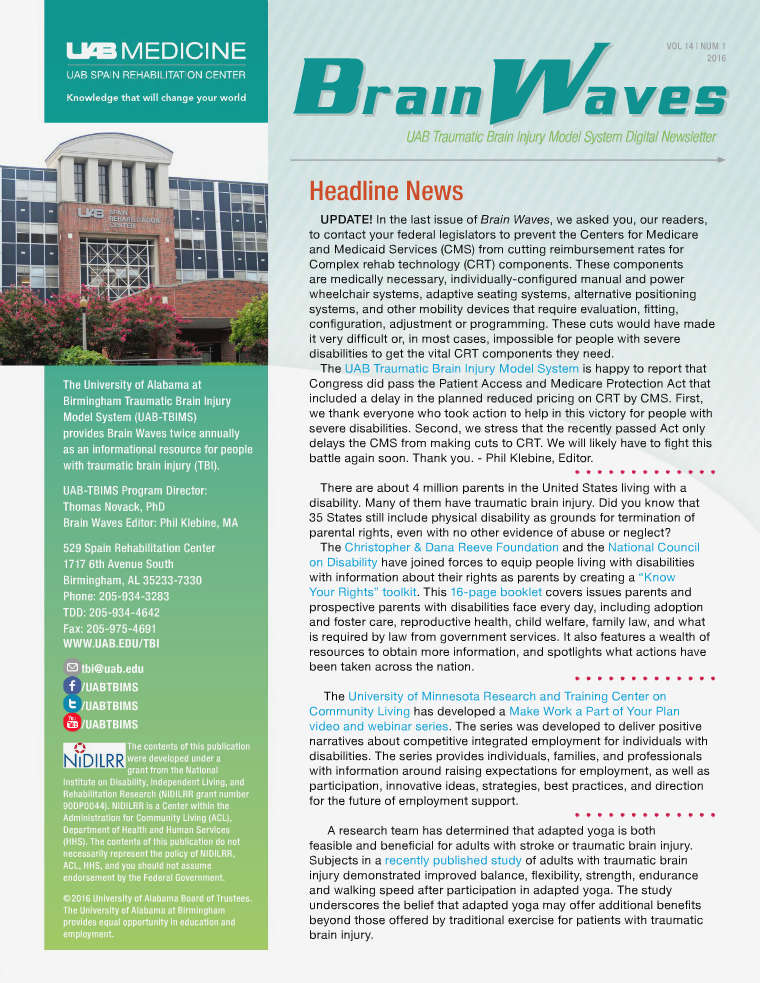 Brain Waves: UAB Traumatic Brain Injury Model System Newsletter Volume 14 | Number 1