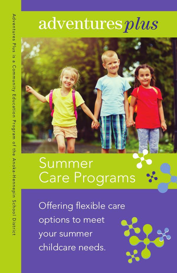 Community Education program brochures Adventures Plus - Summer 2019