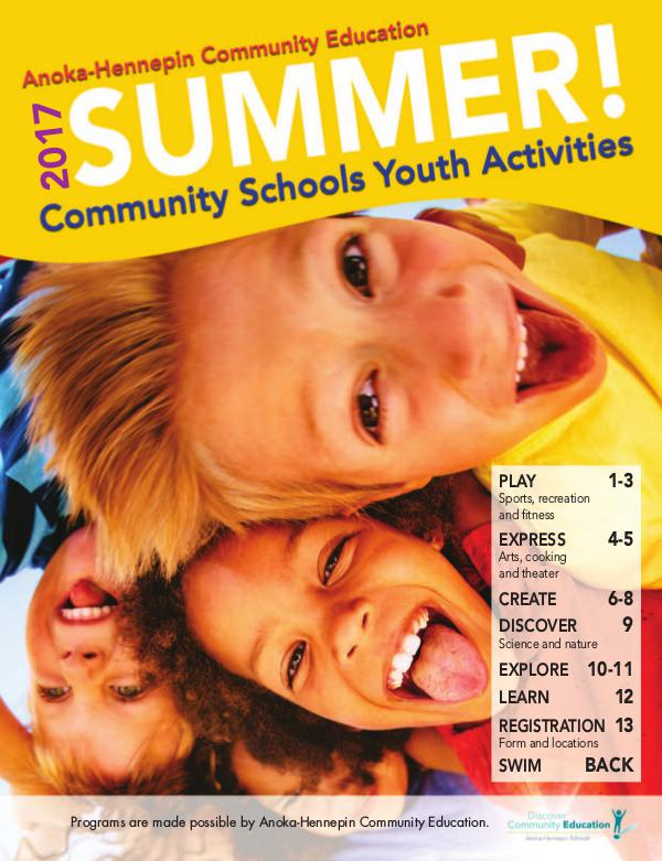 Community Education - current class catalogs Youth activities and classes - Summer 2017
