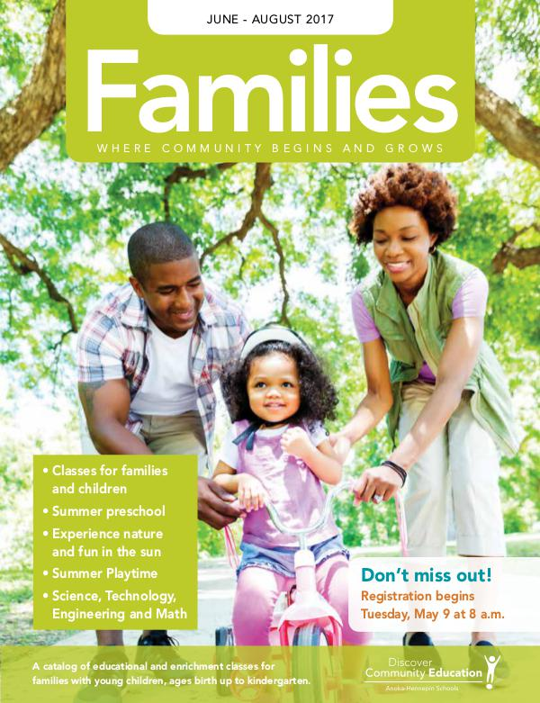 Community Education - current class catalogs Families - Summer 2017