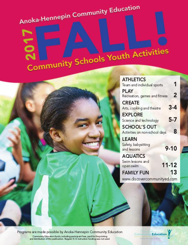 Community Education - current class catalogs Youth activities and classes - Fall 2017