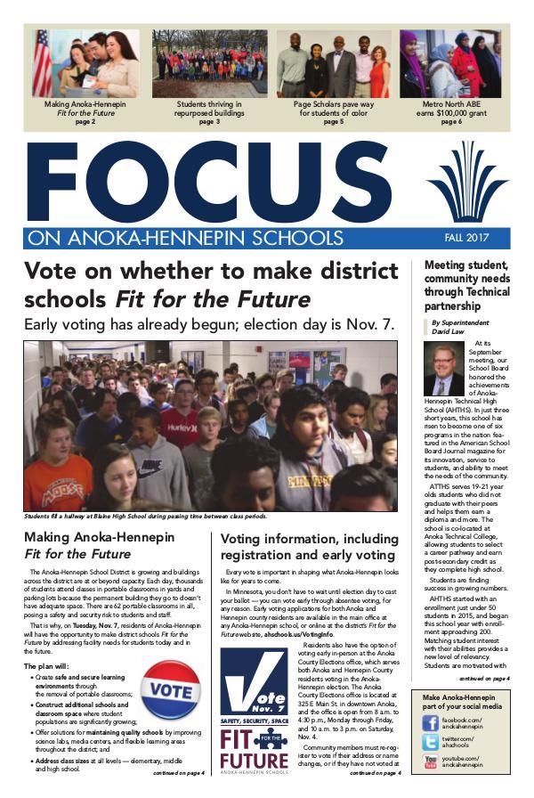 Newsletters 2017-18 Focus newsletter, [2] Fall