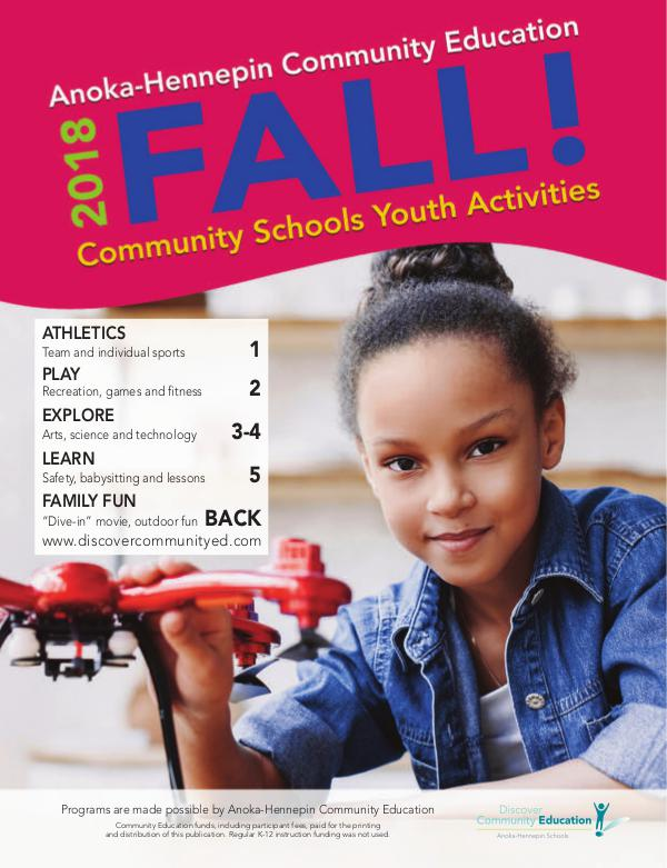 Community Education - current class catalogs Youth activities and classes - fall 2018