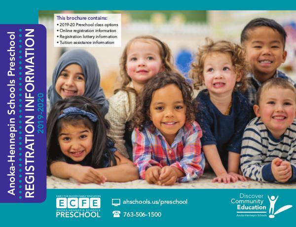 Community Education program brochures Preschool Registration Information: 2019-20