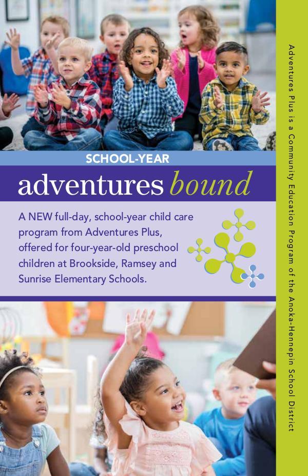 Community Education program brochures Adventures Bound, 2019-20 school-year care