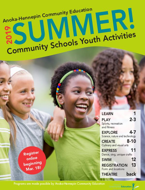 Youth activities and classes - summer 2019