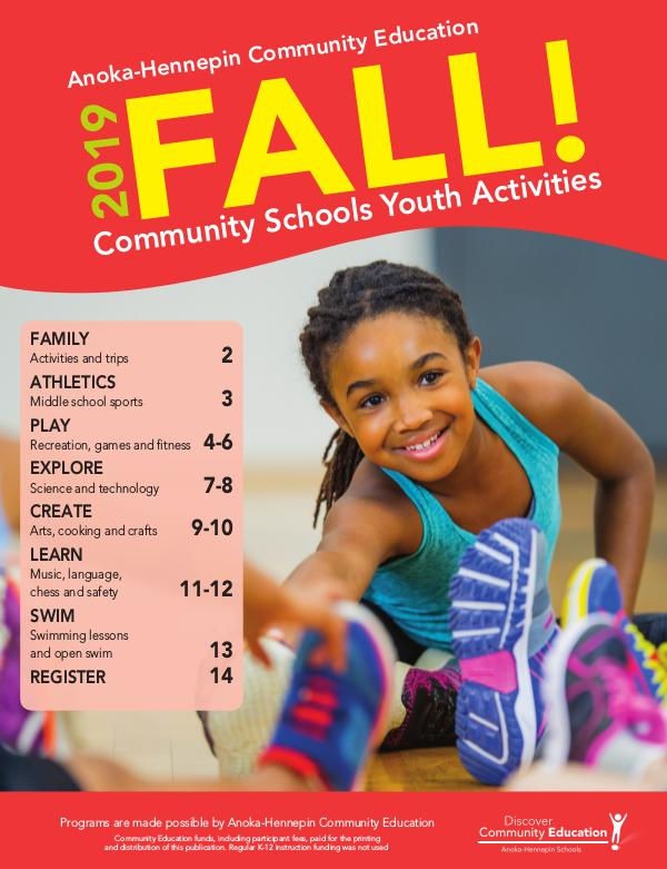 Community Education - current class catalogs Youth activities and classes - Fall 2019