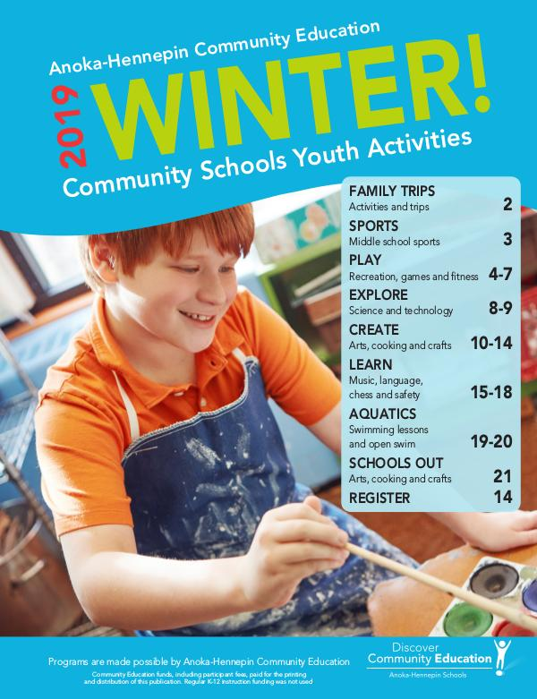 Community Education - current class catalogs Youth activities and classes - Winter/Spring 2020