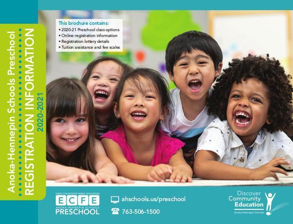 Community Education program brochures Preschool registration information, 2020-21