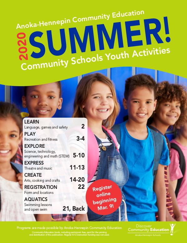 Community Education - current class catalogs Youth activities and classes - Summer 2020