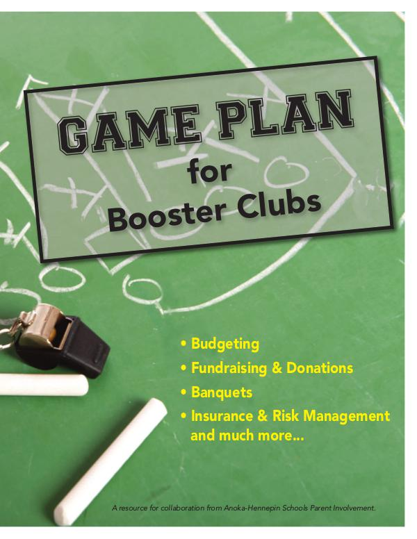 Community Education program brochures Game plan for booster clubs