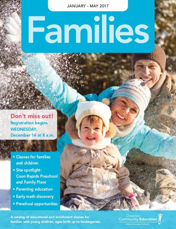 Community Education - current class catalogs Families - Winter 2017