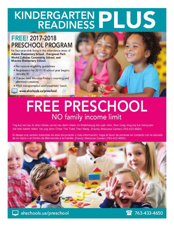 Community Education program brochures Kindergarten Readiness Preschool PLUS: 2017-18