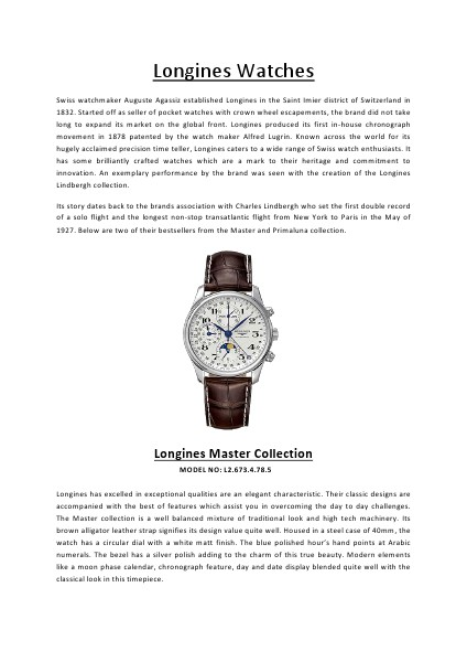 Longines Watches Vol 1