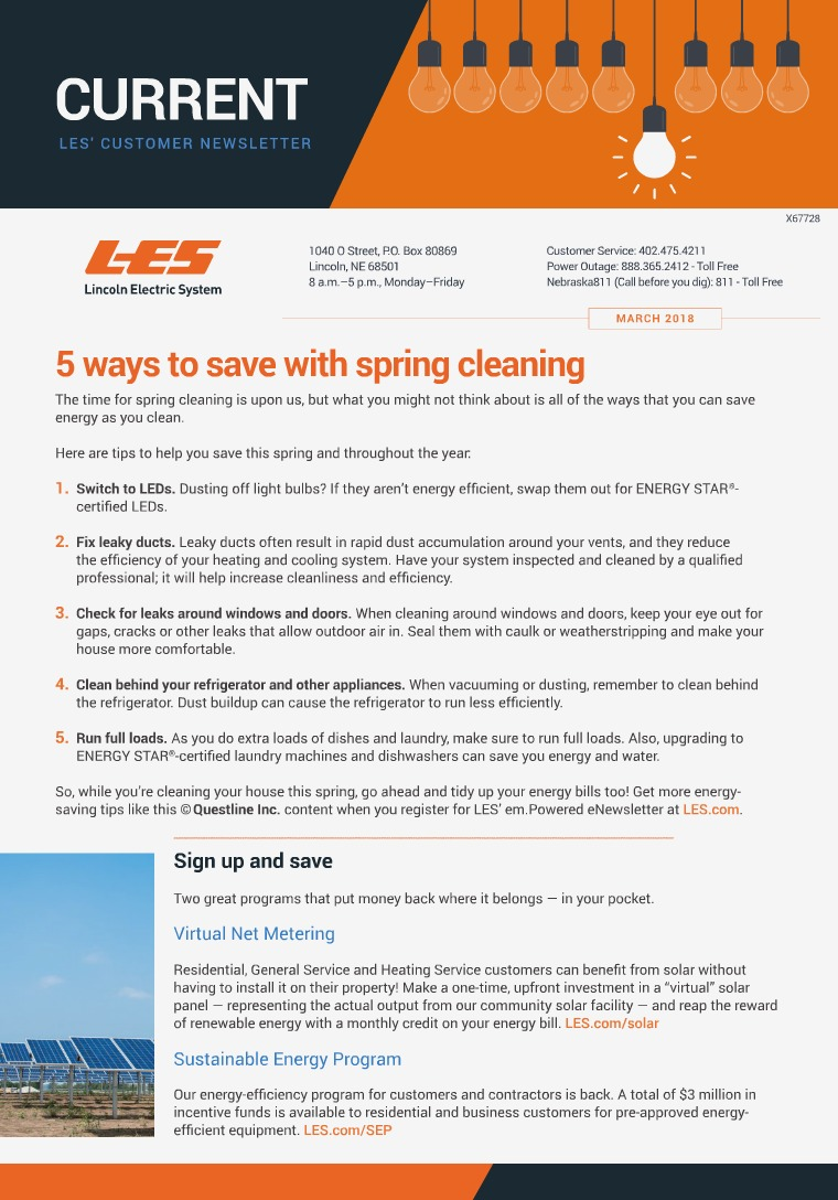 Current    LES Customer Newsletter Current - March 2018