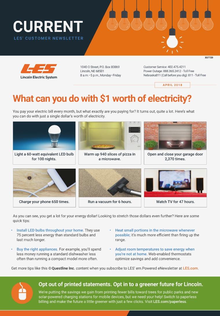 Current  | LES Customer Newsletter Current - April 2018
