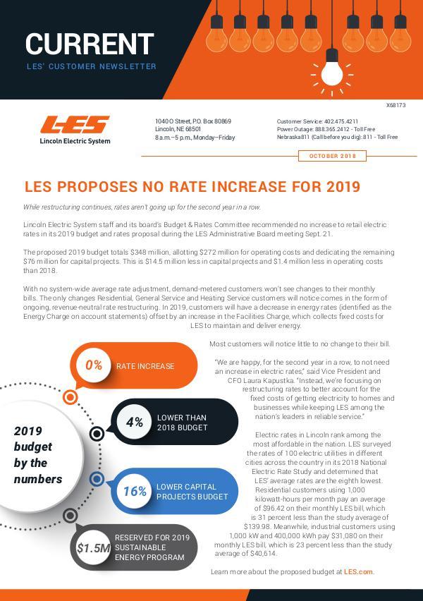 Current  | LES Customer Newsletter Current - October 2018
