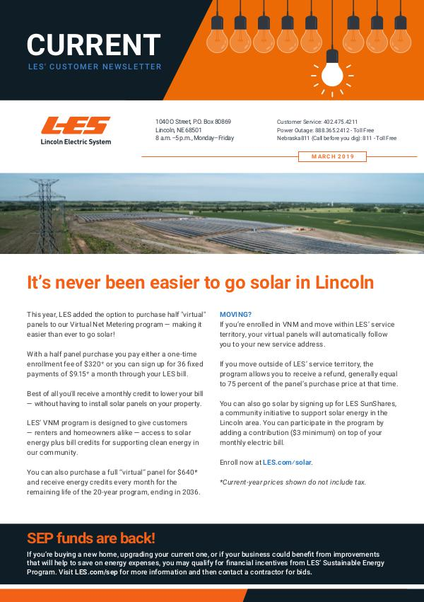 Current  | LES Customer Newsletter Current - March 2019