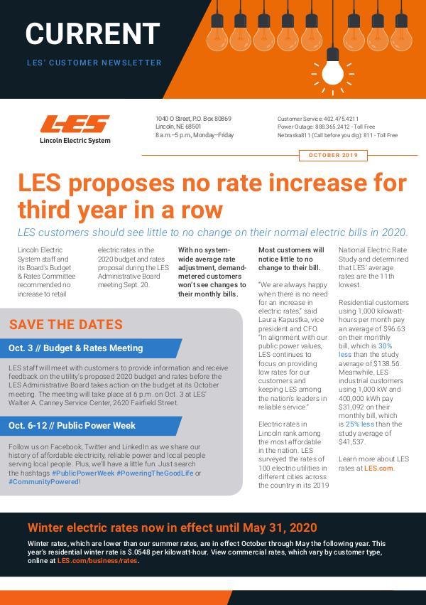 Current  | LES Customer Newsletter Current - October 2019