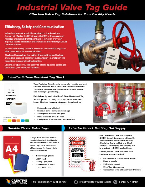 Valve Tags Guide - Creative Safety Supply April 2014