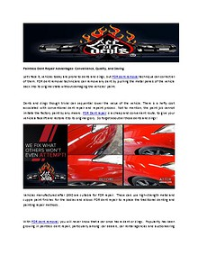 Paintless Dent Repair Advantages- Convenience, Quality, and Saving