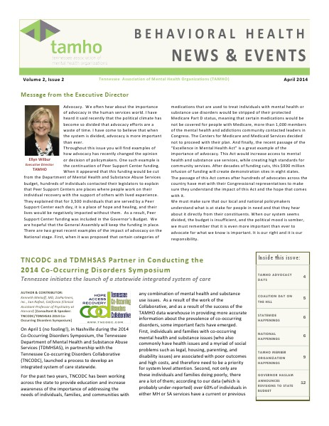 TAMHO - Behavioral Health News & Events Volume 2 Issue 2