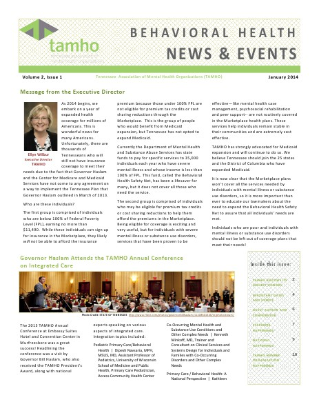 TAMHO - Behavioral Health News & Events Volume 2 Issue 1