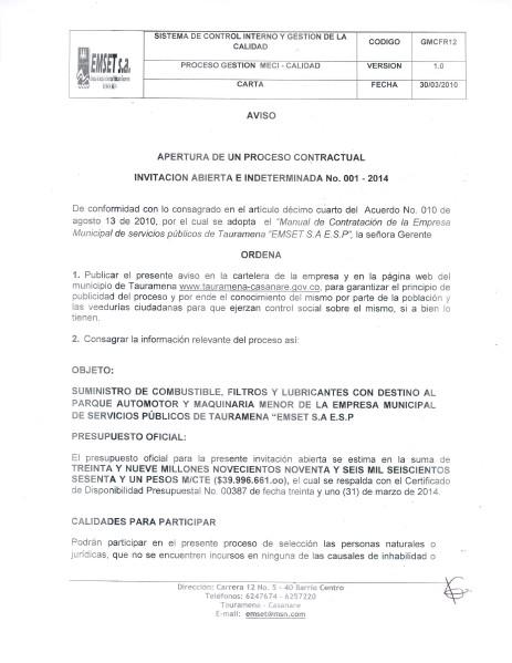 APERTURA DE UN PROCESO CONTRACTUAL APERTURA PROCESO CONTRACTUAL