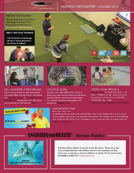 MIT Recreation Monthly Newsletter November 2014