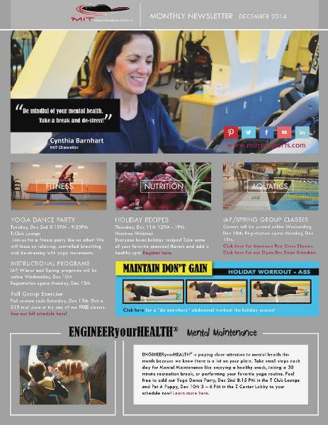 MIT Recreation Monthly Newsletter December 2014
