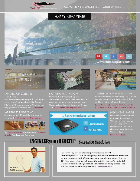 MIT Recreation Monthly Newsletter January 2015