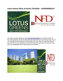 Lotus Greens Plots at Sector 79 Noida - +919999999237