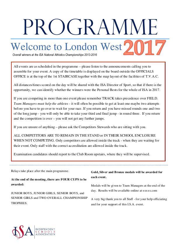 ISA London West ISA LW Programme 2017