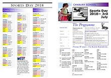 Canbury Sports Day Programme 2018