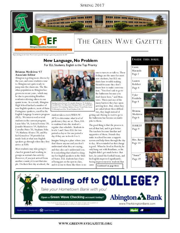 The Green Wave Gazette Spring 2017 (1)