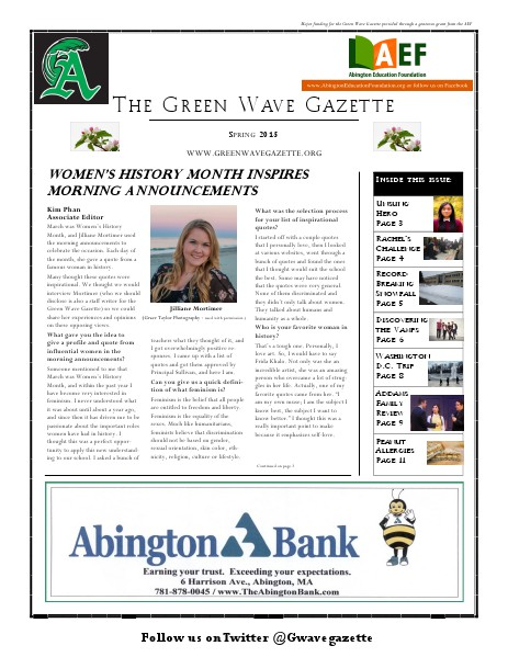 The Green Wave Gazette Spring 2015