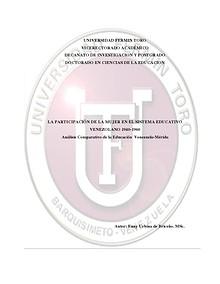 LA PARTICIPACIÓN DE LA MUJER EN EL SISTEMA EDUCATIVO VENEZOLANO 1940- LA PARTICIPACIÓN DE LA MUJER EN EL SISTEMA EDUCATIVO VENEZOLANO 1940-