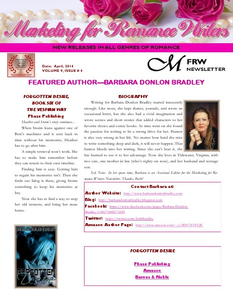 Marketing For Romance Writers Newsletter April, 2014