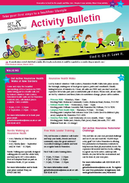 Get Active Hounslow Bulletin July Edition