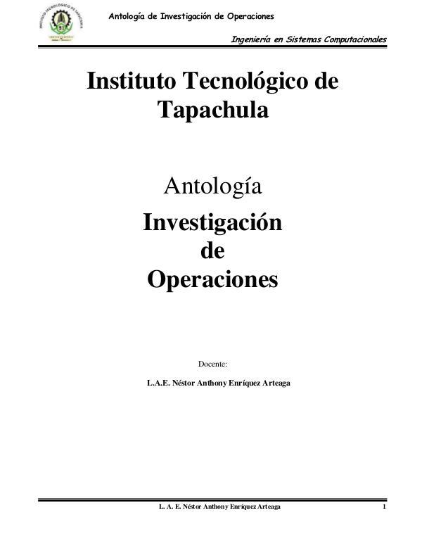 Investigación de Operaciones Antologia