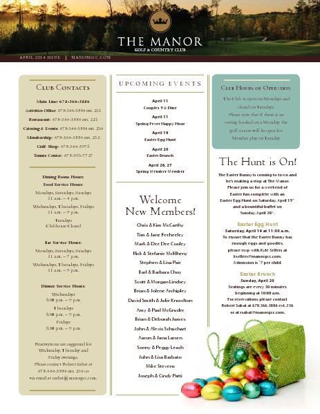 The Manor Golf and Country Club Newsletter April 2014