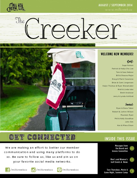 Mill Creek Country Club Member Newsletter August-September 2014